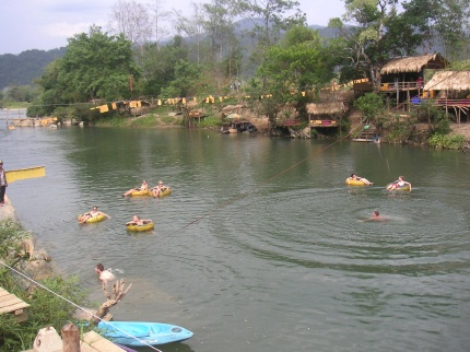 In the afternoon we did what most backpackers really come to Vang Vieng to